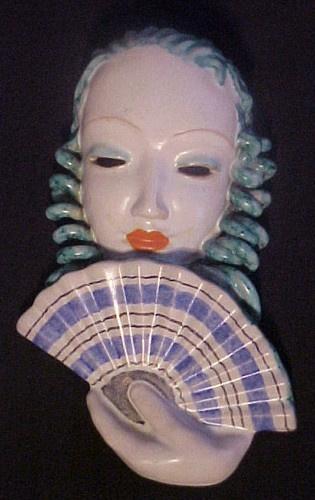 Dramatic Highly Stylized Goldscheider Wein Art Deco Female Wall Mask w/ Fan