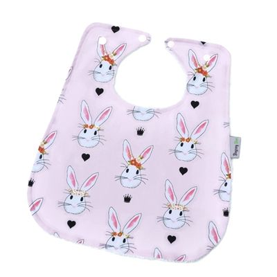 Boho Bunnies Bamboo Super Bib. Pretty Pink boho Rabbits with a touch of gold.  www.bugseybee.com