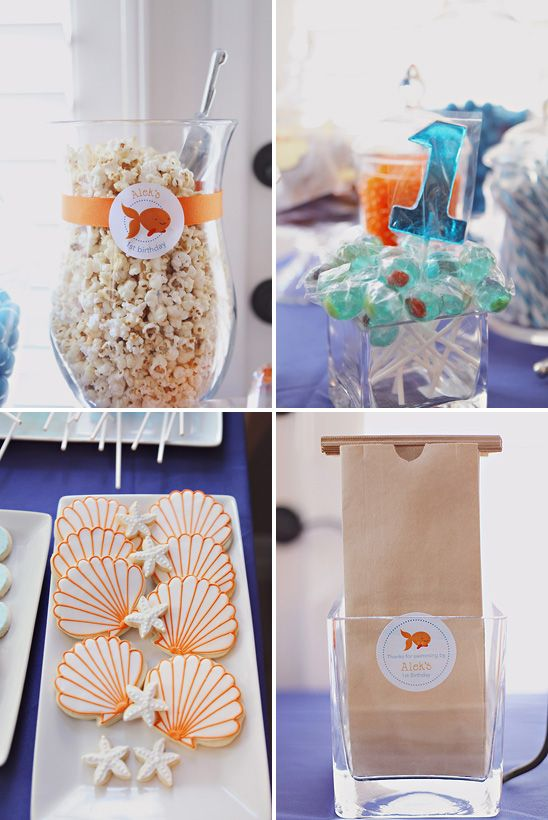 mermaid party food ideas, love the popcorn