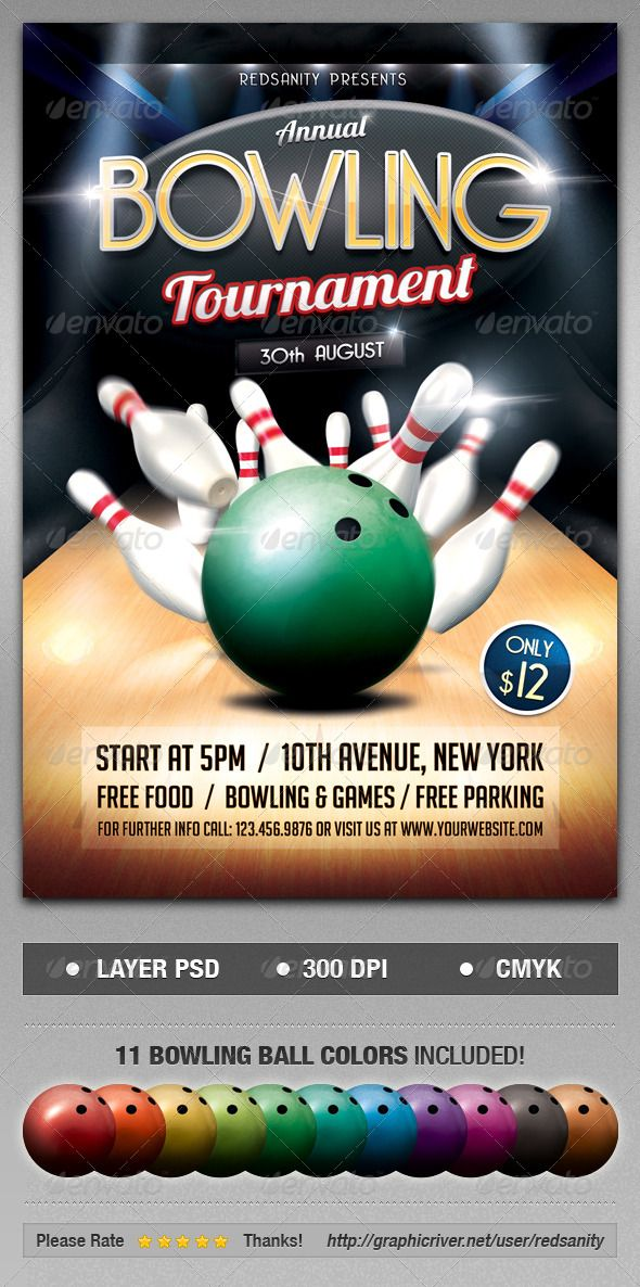 Bowling Tournament PSD Flyer  Template • Only available here ➝ http://graphicriver.net/item/bowling-tournament-flyer/8405703?ref=pxcr