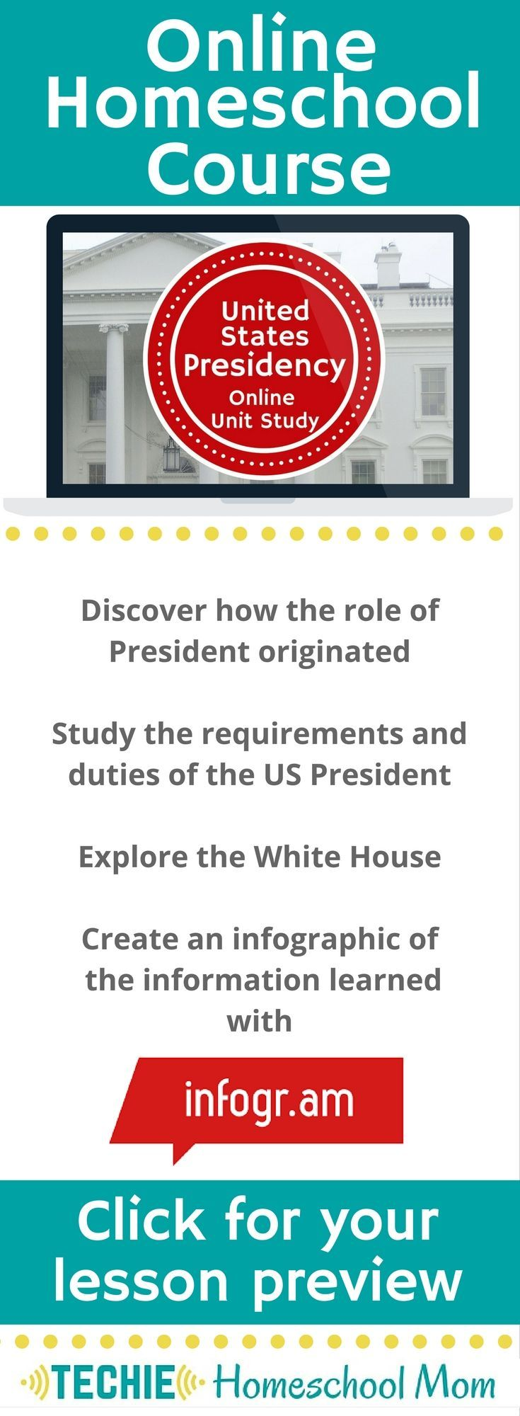 Try the United States Presidency Online Unit Study. This online homeschool course integrates multiple subjects for multiple ages of students. Access websites and videos and complete digital projects. With Online Unit Studies' easy-to-use E-course format, no additional books or downloads are needed. Just gather supplies for hands-on projects and register for online tools. Click for your free lesson.