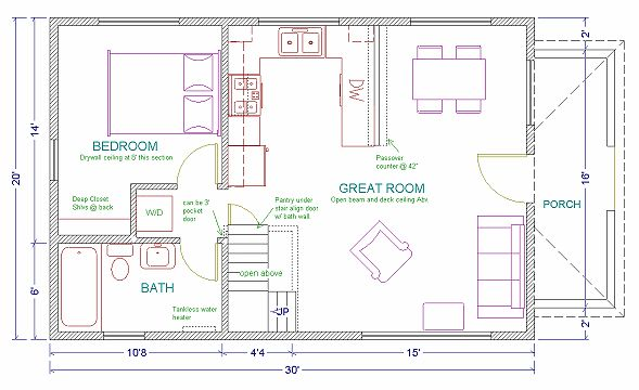 Bedroom 20 X 40 Floor House Plans On 40x20 Open Floor House Plans
