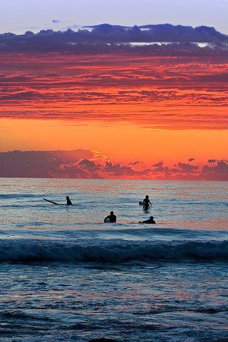 waking up early going for a surf and watching the sunrise on the Gold Coast Australia...