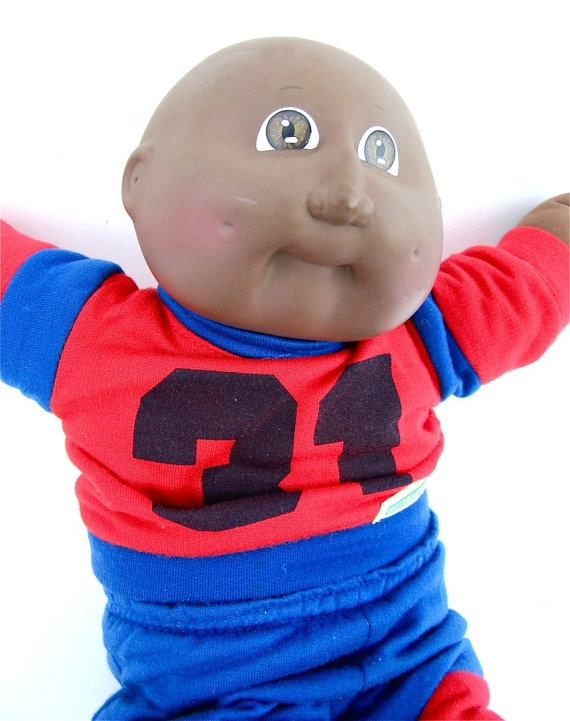 African American Bald Boy Cabbage Patch Doll by worldvintage