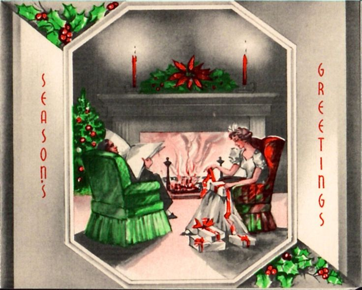 Couple sharing fireside at Christmas.