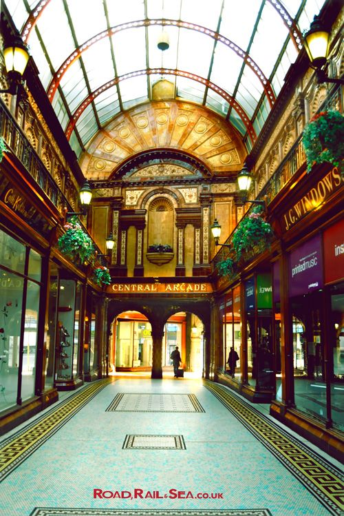 Central Arcade in Newcastle, United Kingdom.  Travel to Newcastle in just 3 hours by train or stay overnight before catching the ferry to Amsterdam with DFDS.