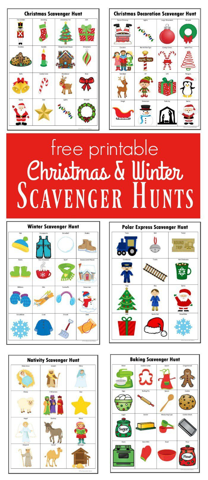 Kids will have a lot of fun doing these winter and Christmas scavenger hunts. FREE PRINTABLE