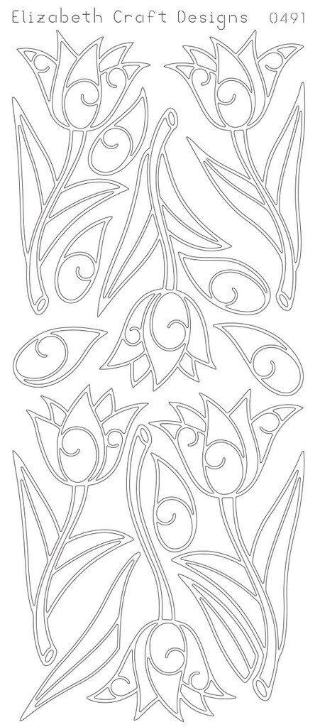Elizabeth Craft Designs Peel-Off Sticker - 0491B Tulips - Black