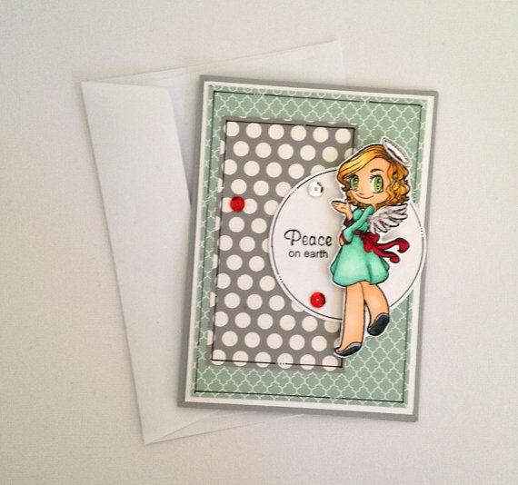 Christmas Card Angel Christmas Angel Non by JessideeHandmade