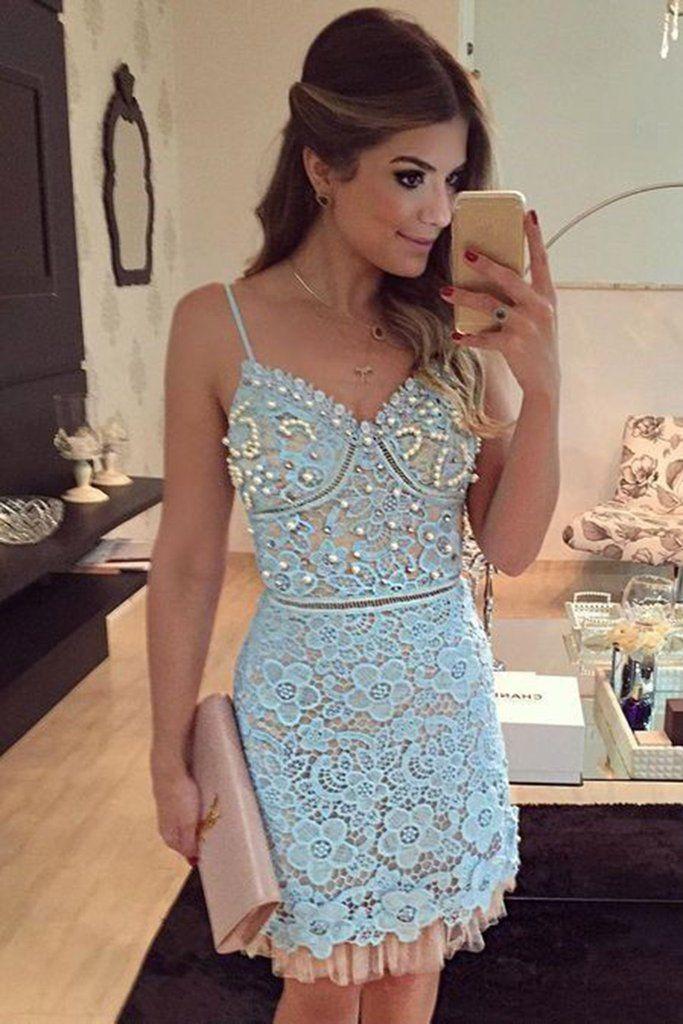 Light blue lace V-neck beading short Party dresses with spaghetti straps