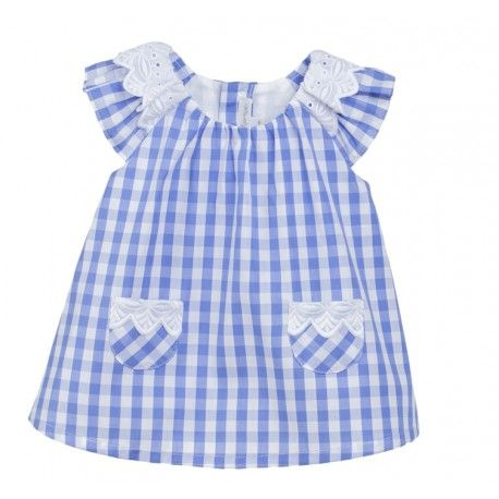 www.pepaonline.com  Fina Ejerique Vestido cuadro azulón bebé
