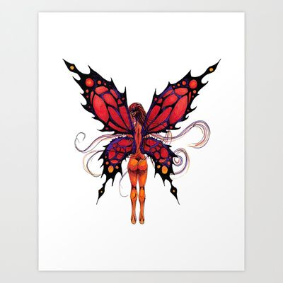 Butterfairy Red Art Print by ReadThisVA - $17.00
