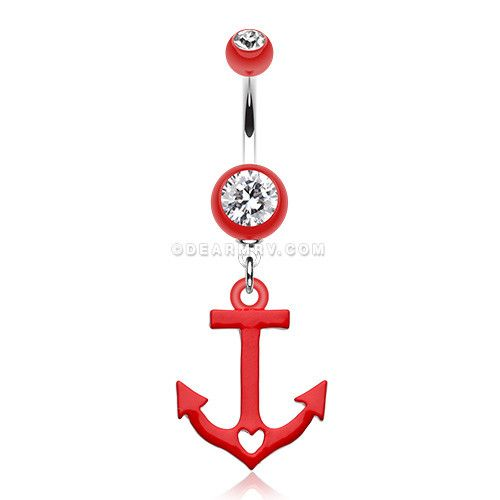 Love Anchor Heart Belly Button Ring (Red)