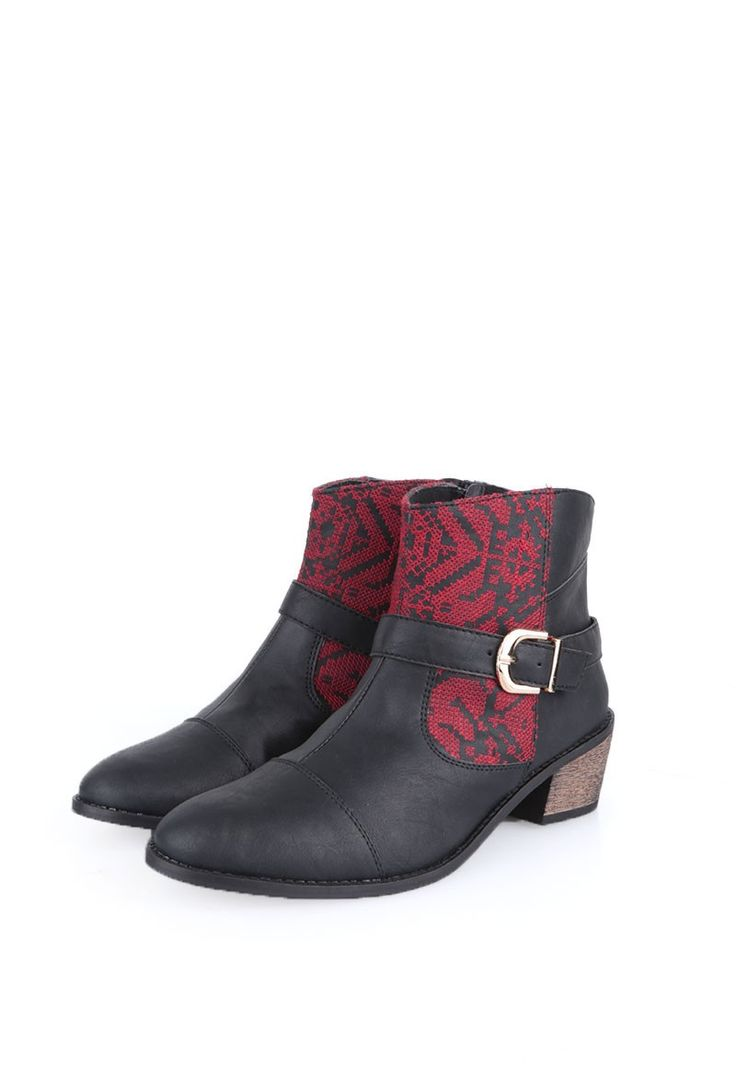 Maroon & Black Moroccan Embroidered Ankle Boots made from cruelty free leather and rubber sole. Moroccan embroidery is extremely rare to find. It is a passing work of art which is losing onto its artistic heritage due to a narrow segment of people in the world treasuring its traditional value. In earlier times, it used to support women in Morocco financially and provided a platform for social interaction. The beautiful pieces created here traditionally involve monochromatic, geometric pat...