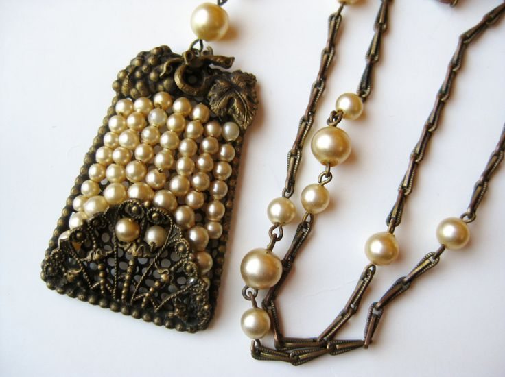 Vintage 40s Miriam Haskell Style Baroque Pearl Brass Filigree Pendant  Necklace