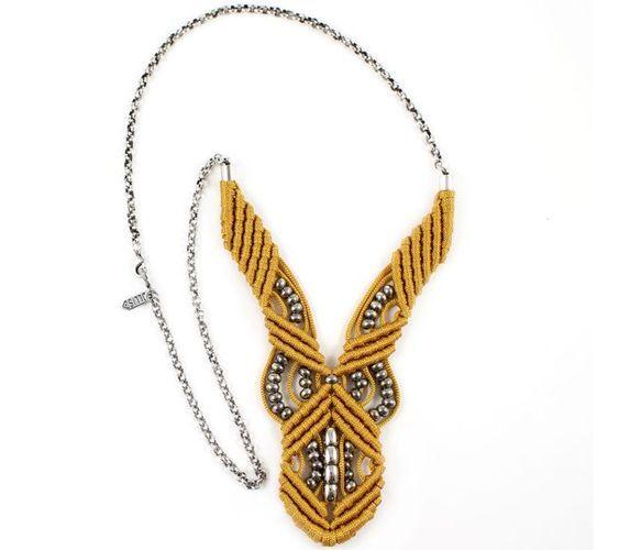 yellow macrame necklace