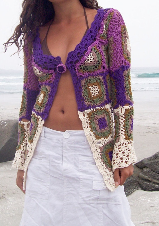 Granny Square Chic Long Sweater..