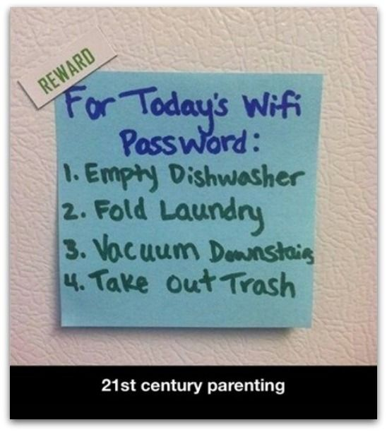 I totally need to do this - keep the wifi password hostage - genius!