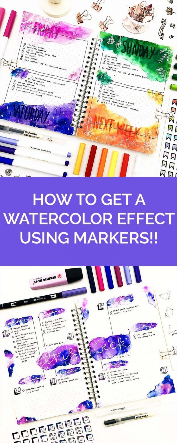 Bujo Beautifully: How to Get the Effect of Watercolor with Markers #bulletjournal #bulletjournalideas #planner https://productiveandpretty.com/watercolor-with-makers/?utm_campaign=coschedule&utm_source=pinterest&utm_medium=Productive%20and%20Pretty&utm_content=Bujo%20Beautifully%3A%20How%20to%20Get%20the%20Effect%20of%20Watercolor%20with%20Markers