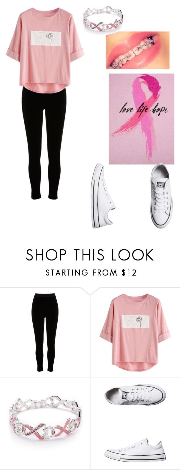 """I have pink braces this month to support. What about you?"" by chloezanford2 ❤ liked on Polyvore featuring River Island, Napier and Converse"