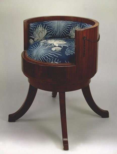 Art Nouveau: Company Fomin, St. Petersburg, 1900.; mahogany, silk. Dimensions 68 x 60 x 60 cm. In St. Petersburg were affordable and stylish furniture manufactured by the companies Meltzer and Fomin in art nouveau style, affordable not only for the Russian nobility, but also the affluent middle class.