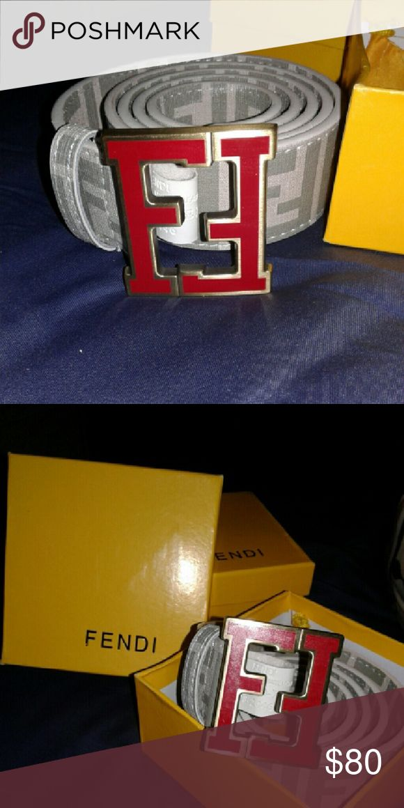 Fendi Belt Here you have a nice white and grey fendi belt with a red fendi buckle!!! FENDI Accessories Belts