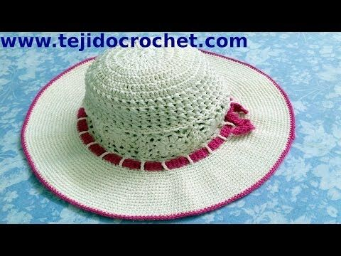 Sombrero playero en tejido crochet tutorial paso a paso. - YouTube