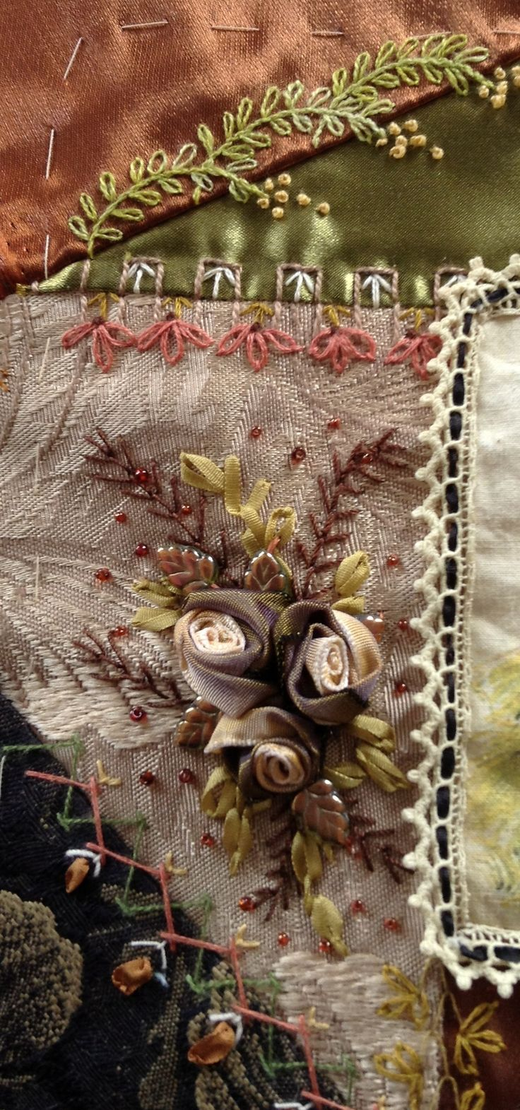 Roses For Anne's block. CQ 1  taupe, copper, brown, olive