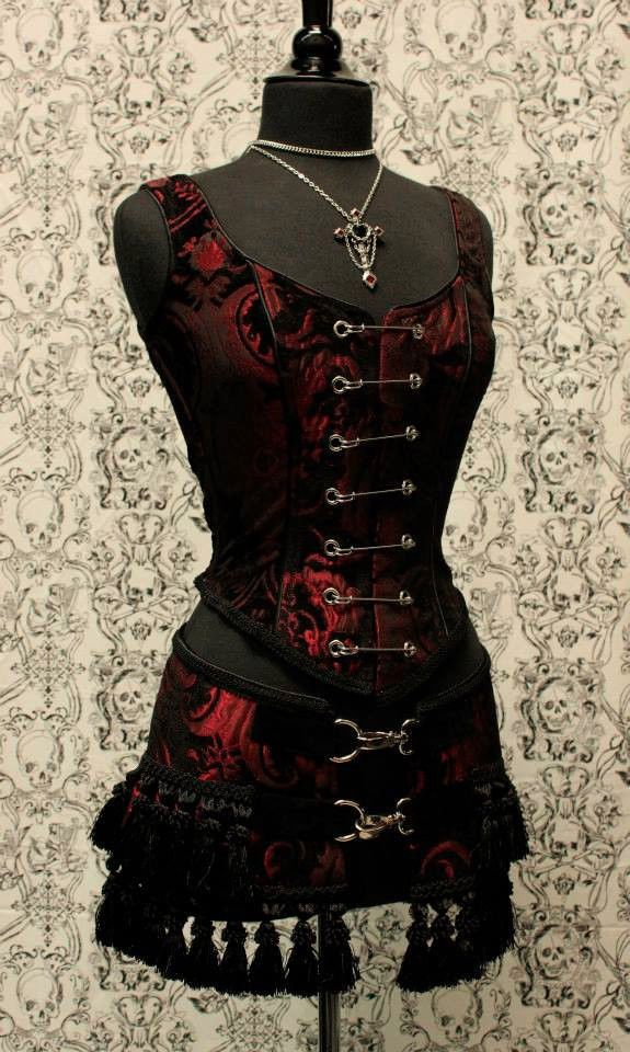 Pin bodice A shrine classic! A heavily constructed corset top in rich red and black tapestry fabric with a great form fit. Heavy metal boning at sides and lycra stretch panel at back adds extra strong support. | eBay!
