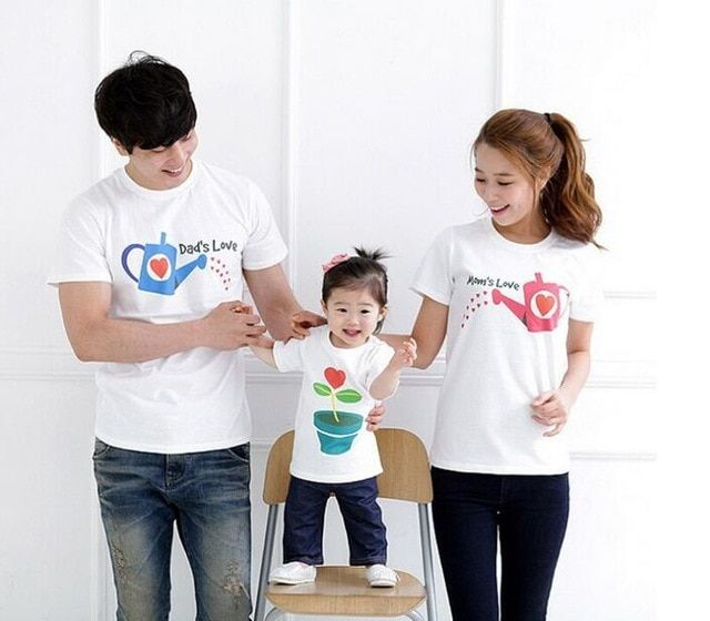 Gambar Kartun Menyiram Bunga Us 10 2 Keluarga Tops Pendek Dilengkapi Lengan Kapas T Shirt Korean Keluarga Pakaian Musim Pana Family Set T Shirt Short Sleeve