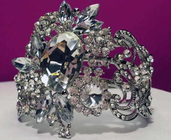 Luxurious Art Deco Bridal Clear Crystal Cuff by BYTWINS on Etsy
