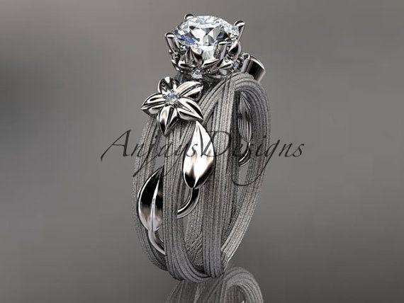14k blanco floral oro y diamantes, la hoja y el anillo de bodas de la vid, ADLR253 anillo de compromiso