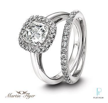 Martin Flyer FlyerFit Platinum And Diamond Engagement Ring Matching Wedding Band