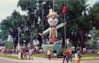 SAINT PAUL. Fairchild. Fairchild, the friendly mascot of the Minnesota State Fair, welcomes fair visitors in front of his gigantic statue on the State Fair Grounds.