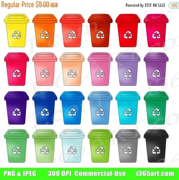 50% OFF SALE Recycling Bin Clipart, Recycle Clip Art, Green, Garbage Bins, House Work, Cleanup Chores, Digital Planners, Recycle Icon, PNG - by I365Art