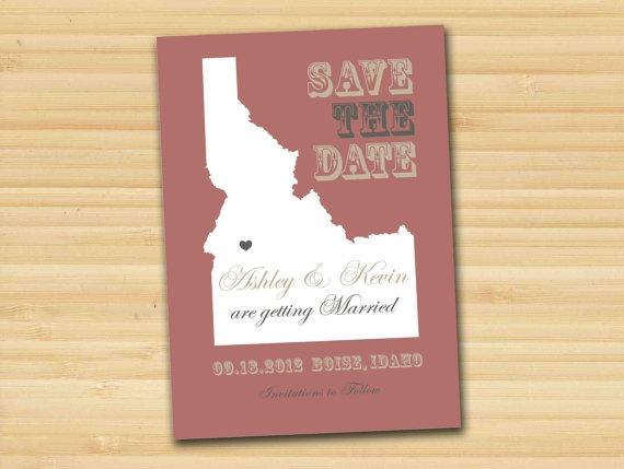 Save the date card location wedding Idaho
