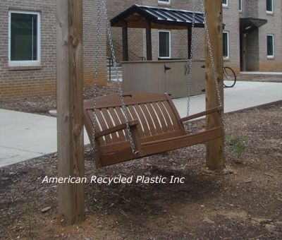 Nautical Porch Swing 4', shown in Teak.  6 standard colors available!  $529.00.  Check us out today at www.itsrecycled.com  #memorial #donor #bench #recycled #outdoorbenches #familybusiness