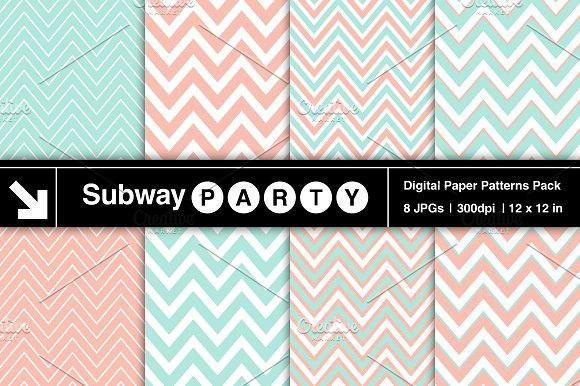 Pastel Mint & Coral Chevron Papers. Patterns. $3.00