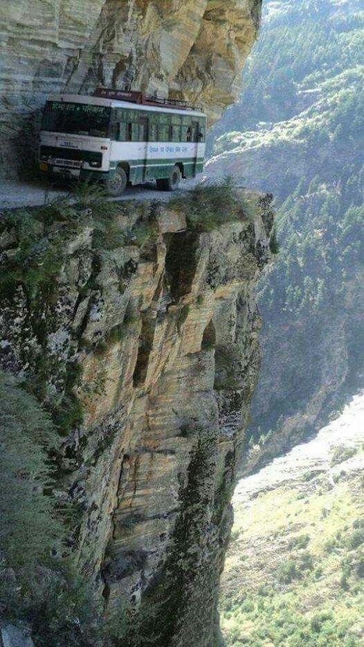 Bus travelling through Tranda Dhank, Kinnaur, Himachal Pradesh, India.