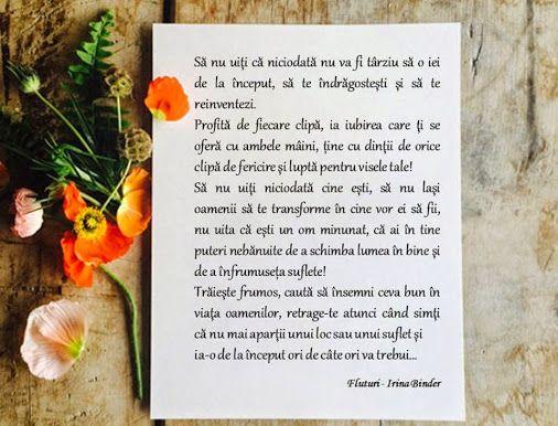 Sa nu uiti ... Fragment din cartea Fluturi - Irina Binder  Cartea se poate comanda (cu transport gratuit) aici: http://bit.ly/1nOENma