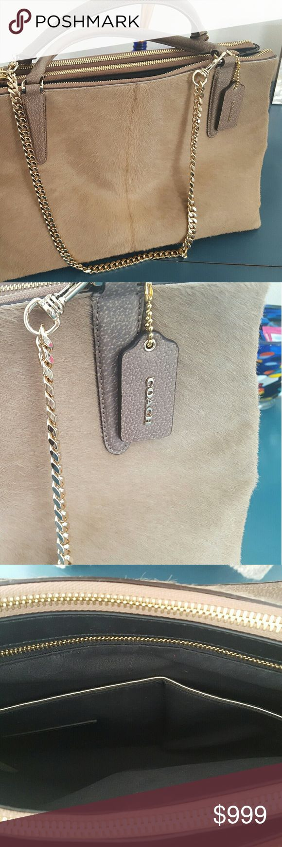 Coach Borough bag Natural Haircalf Coach haircalf bag, as new. Very gently carried a handful of times. Multiple zippered pockets and detachable chain. Natural tan color goes with everything. Coach Bags Totes