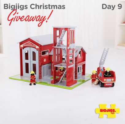 """Ding, Ding, Ding, Ding!""  That bell sounds like Day 9 of the Bigjigs Toys Xmas Giveaway! We are offering you the chance to win this fantastic wooden Fire Station Play Set worth £79.99. Enter via one of the four following ways.  1. LIKE & COMMENT on the image below 2. RT & Follow on Twitter: https://twitter.com/bigjigstoys 3. PIN & Follow on Pinterest: http://www.pinterest.com/bigjigstoysltd 4. Sign up to our Newsletter: http://ow.ly/rEIYK  Competition will end at midnight tonight."