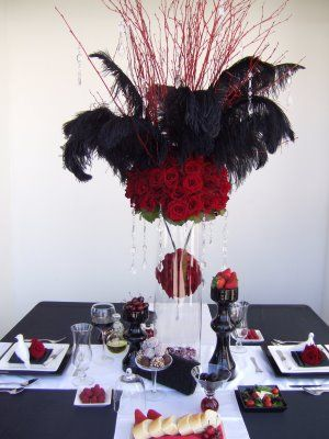 Floral Feather Tall Centerpiece With Ball Inside Very Cute For Masquerade Parties