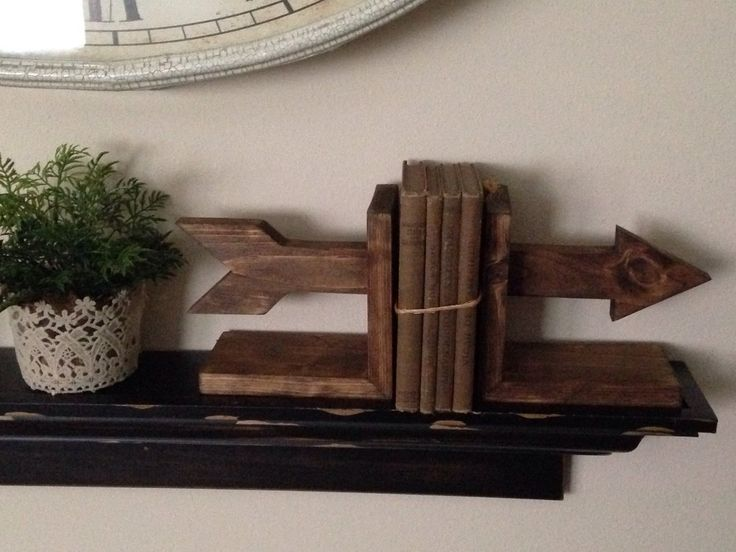 Arrow Bookends, Wooden Bookends, Nursery Decor, Rustic Bookends by RSquaredWoodworks on Etsy