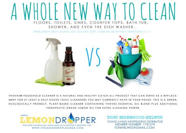 Cleaning with theives kills germs and gives me less worry about my kids and chemicals