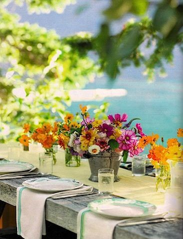Ocean peeking behind...a lovely celebration casual style. All weddings don't have to be formal, relax at the beach with loved ones.