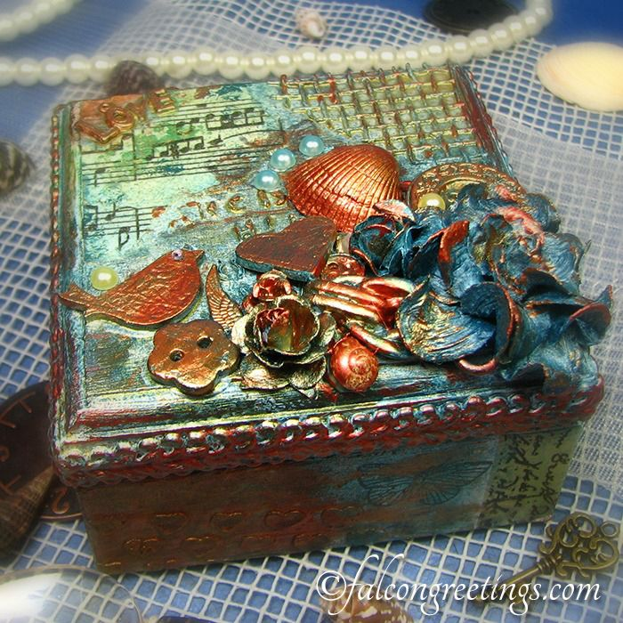 """""""Under the Sea"""" - Altered Jewellery Box - Handmade in Ireland http://www.falcongreetings.com/handmade-gifts/treasure-boxes"""