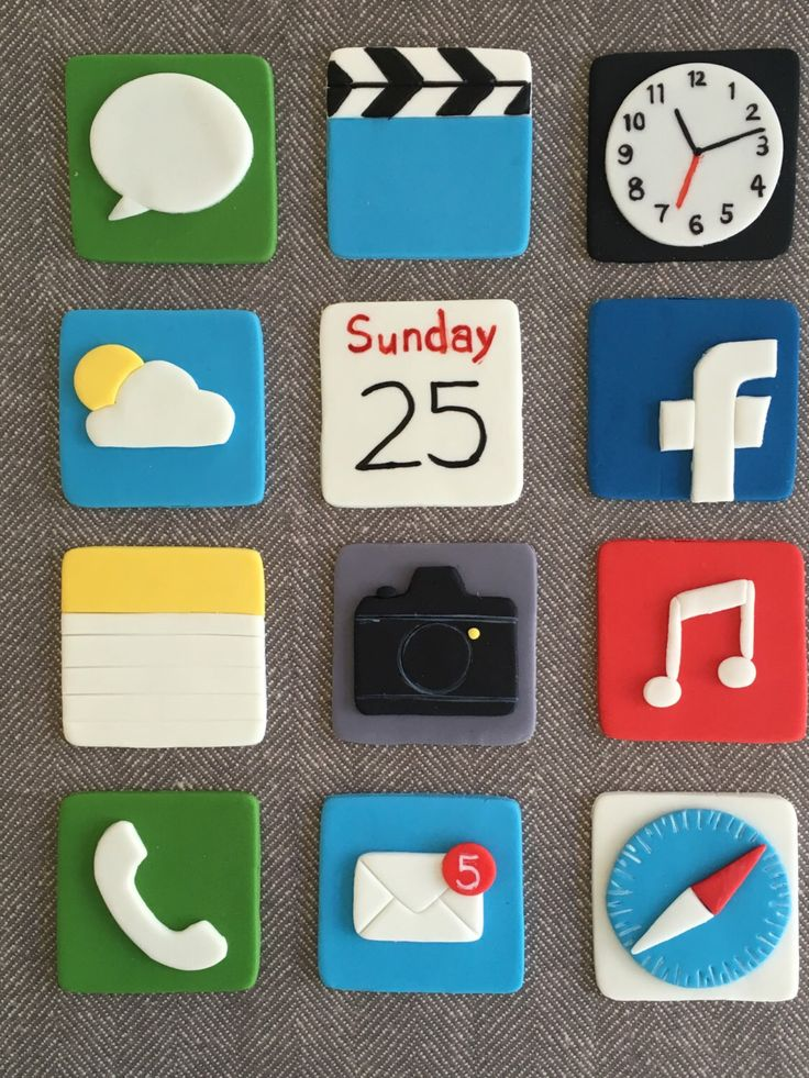 12 Apple iPhone themed fondant cupcake topper (safari, mail, app store, facebook, facetime, iMessage, Calendar, etc.) by HoneyTheCake on Etsy https://www.etsy.com/listing/468538024/12-apple-iphone-themed-fondant-cupcake