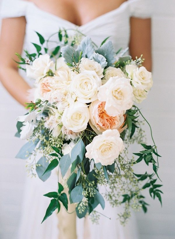 Bouquet recipe: Garden roses, various types of eucalyptus, kangaroo paw, gum nuts, orchids, ranunculus, hydrangeas etc - Elegant Nashville Fall Wedding by Big Events Wedding (Event Design, Planning, Flowers + Paper Goods) + Austin Gros (Photography) - via ruffled