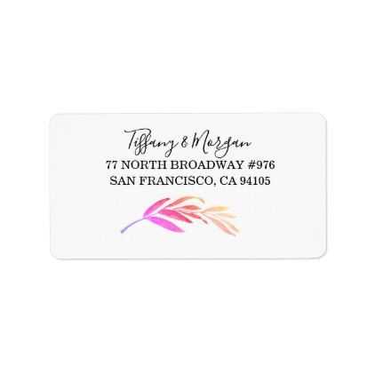 Modern Rainbow Leaf Script Return Address Label - script gifts template templates diy customize personalize special